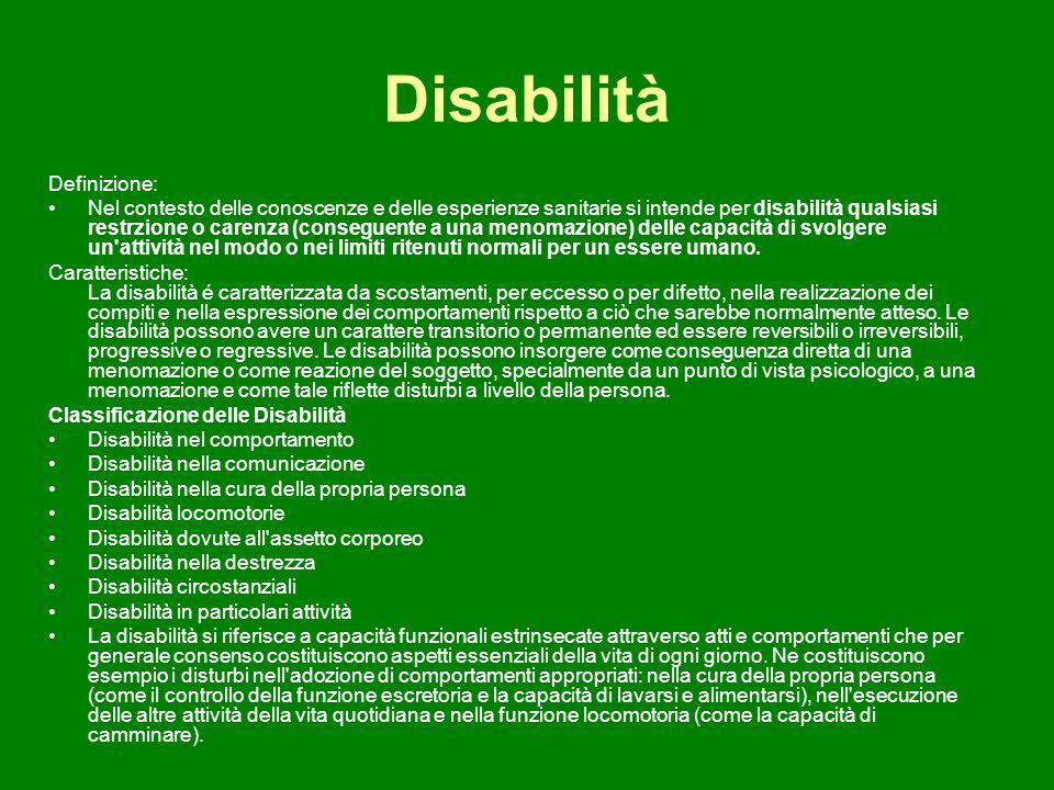 Disabilità Definizione: Nel contesto delle conoscenze e delle esperienze sanitarie si intende per disabilità qualsiasi restrzione o carenza (conseguen