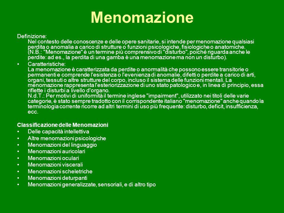 Menomazione Definizione: Nel contesto delle conoscenze e delle opere sanitarie, si intende per menomazione qualsiasi perdita o anomalia a carico di st