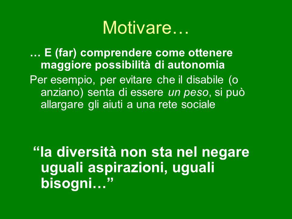 Motivare… … E (far) comprendere come ottenere maggiore possibilità di autonomia Per esempio, per evitare che il disabile (o anziano) senta di essere u