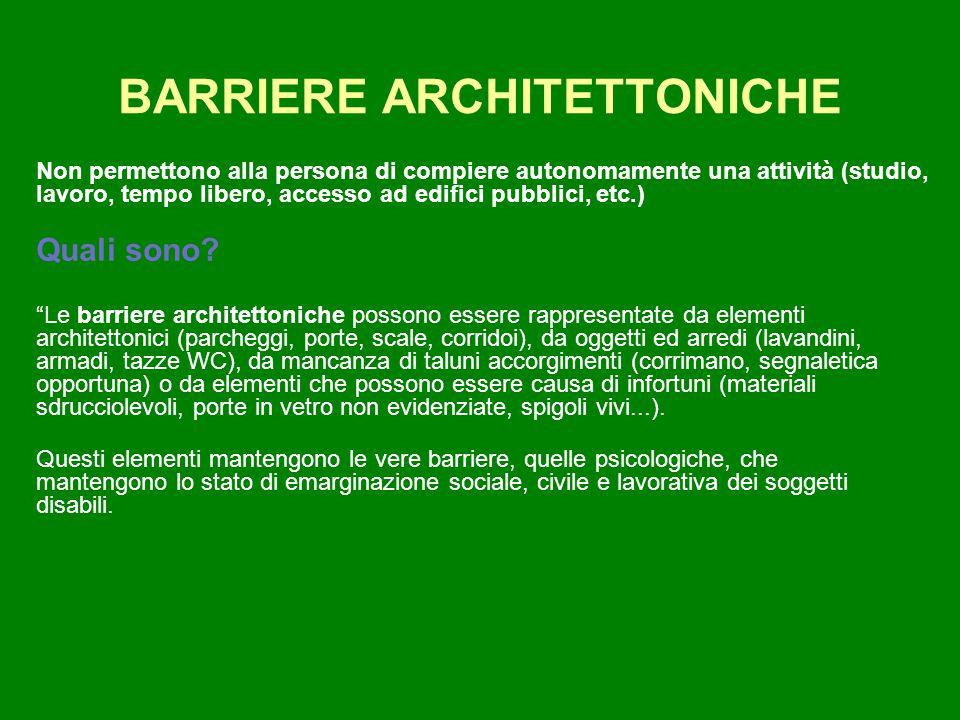 BARRIERE ARCHITETTONICHE Non permettono alla persona di compiere autonomamente una attività (studio, lavoro, tempo libero, accesso ad edifici pubblici