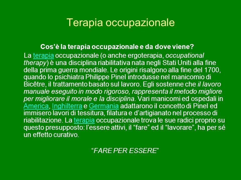 Terapia occupazionale Cos'è la terapia occupazionale e da dove viene? La terapia occupazionale (o anche ergoterapia, occupational therapy) è una disci