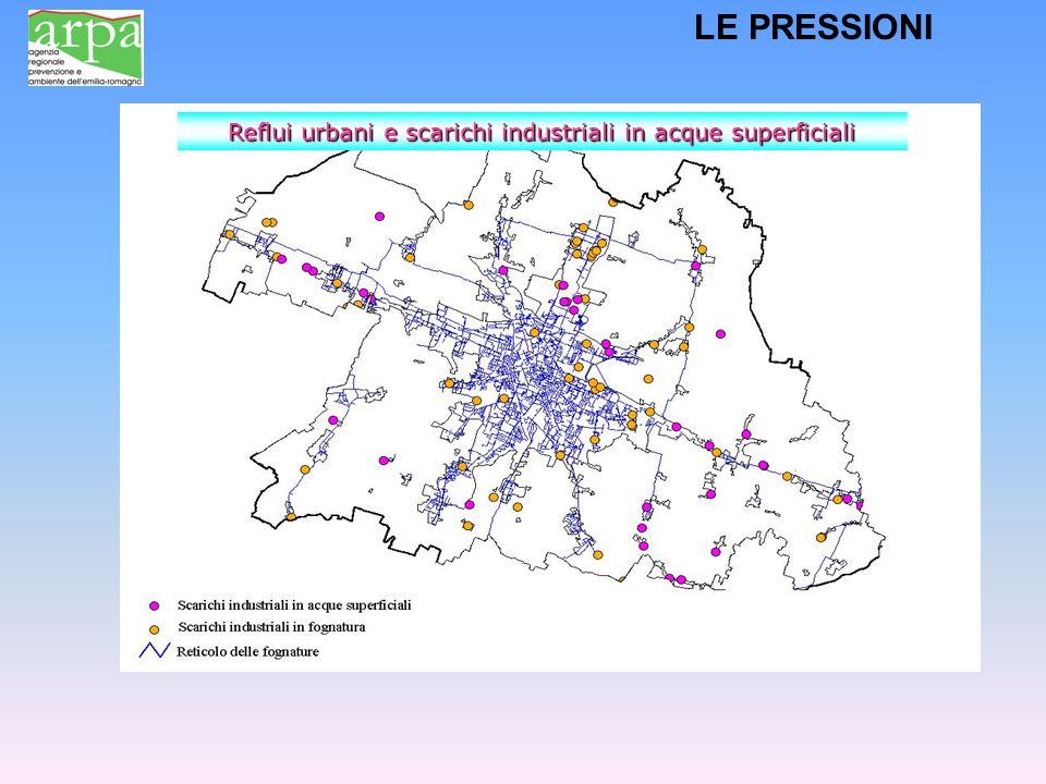 Reflui urbani e scarichi industriali in acque superficiali LE PRESSIONI