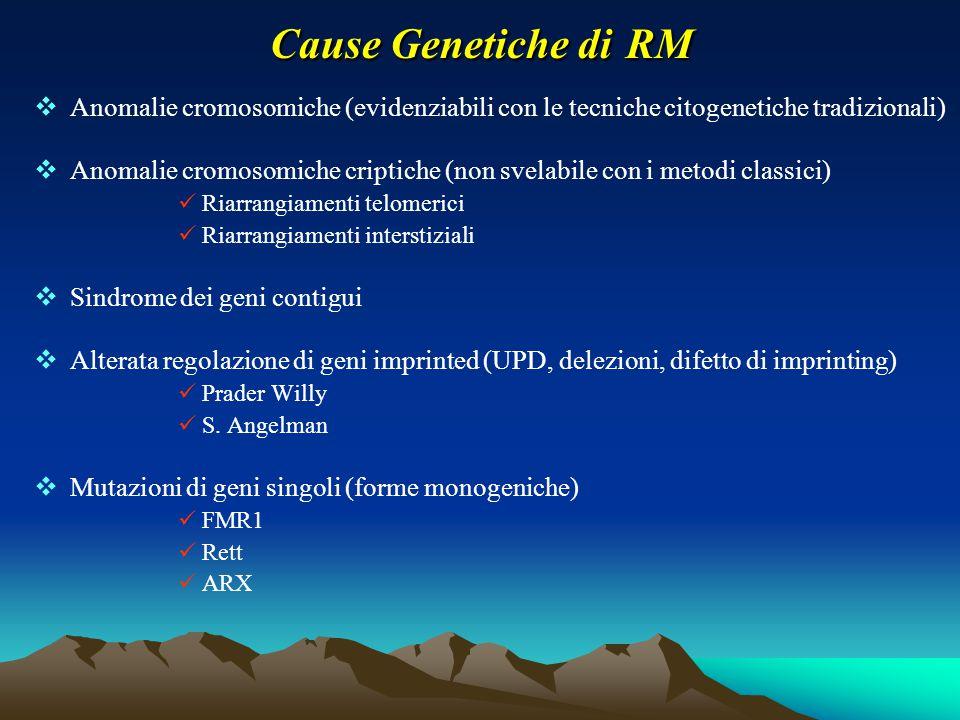 Cause Genetiche di RM  Anomalie cromosomiche (evidenziabili con le tecniche citogenetiche tradizionali)  Anomalie cromosomiche criptiche (non svelab