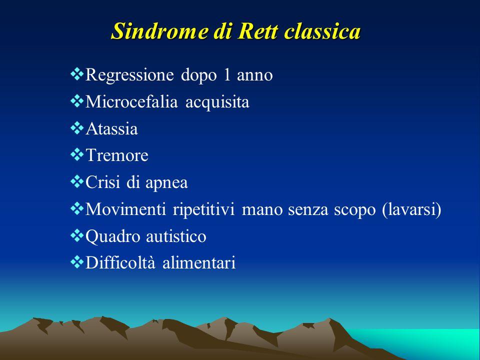 Sindrome di Rett classica  Regressione dopo 1 anno  Microcefalia acquisita  Atassia  Tremore  Crisi di apnea  Movimenti ripetitivi mano senza sc