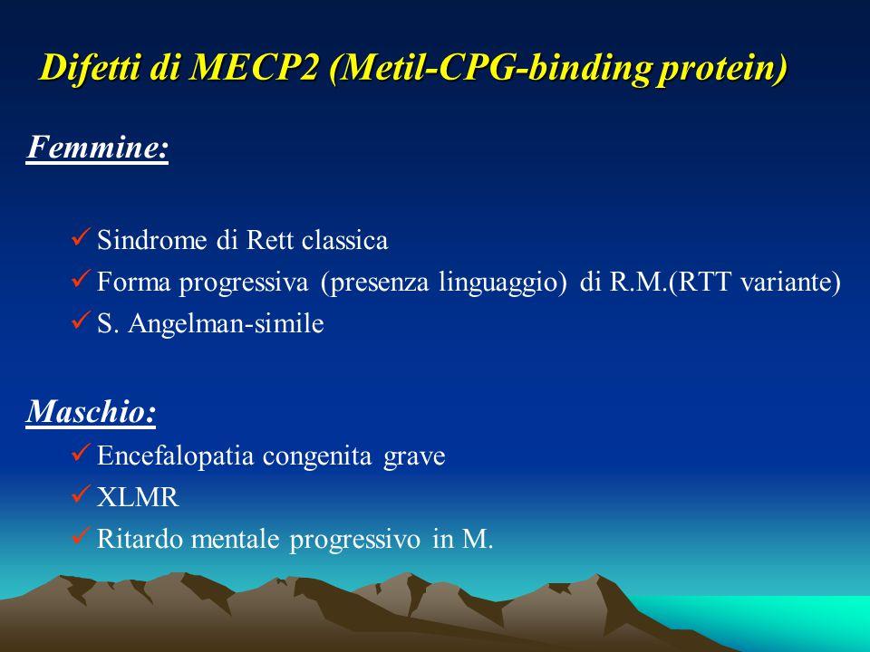 Difetti di MECP2 (Metil-CPG-binding protein) Femmine: Sindrome di Rett classica Forma progressiva (presenza linguaggio) di R.M.(RTT variante) S. Angel
