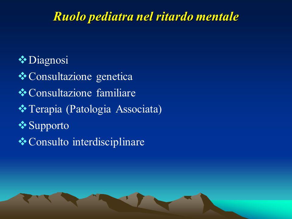 Ruolo pediatra nel ritardo mentale  Diagnosi  Consultazione genetica  Consultazione familiare  Terapia (Patologia Associata)  Supporto  Consulto