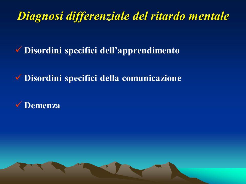 Diagnosi differenziale del ritardo mentale Disordini specifici dell'apprendimento Disordini specifici della comunicazione Demenza