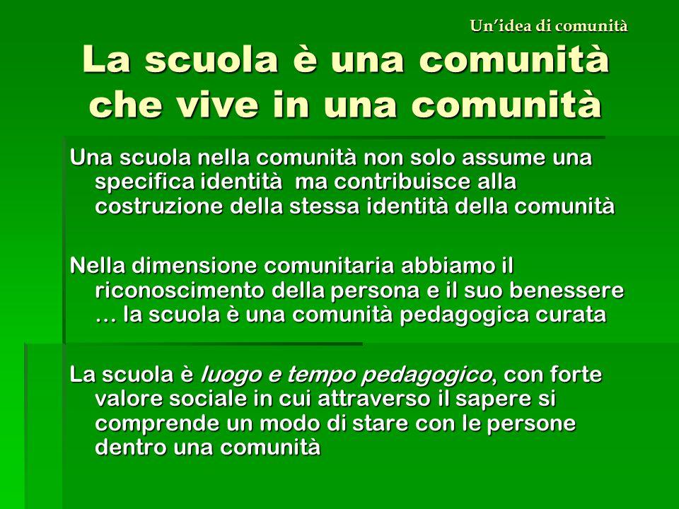 Un'idea di comunità La scuola è una comunità che vive in una comunità Una scuola nella comunità non solo assume una specifica identità ma contribuisce