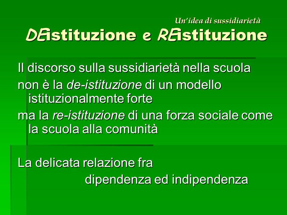 Un'idea di sussidiarietà DE istituzione e RE istituzione Il discorso sulla sussidiarietà nella scuola non è la de-istituzione di un modello istituzionalmente forte ma la re-istituzione di una forza sociale come la scuola alla comunità La delicata relazione fra dipendenza ed indipendenza dipendenza ed indipendenza