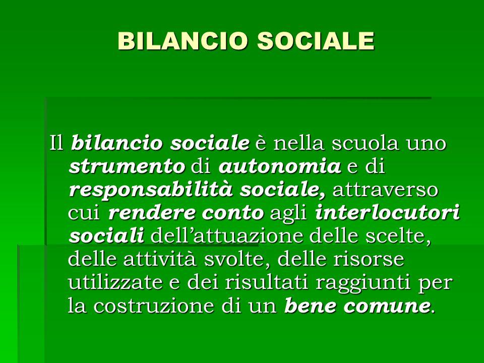 BILANCIO SOCIALE Il bilancio sociale è nella scuola uno strumento di autonomia e di responsabilità sociale, attraverso cui rendere conto agli interlocutori sociali dell'attuazione delle scelte, delle attività svolte, delle risorse utilizzate e dei risultati raggiunti per la costruzione di un bene comune.