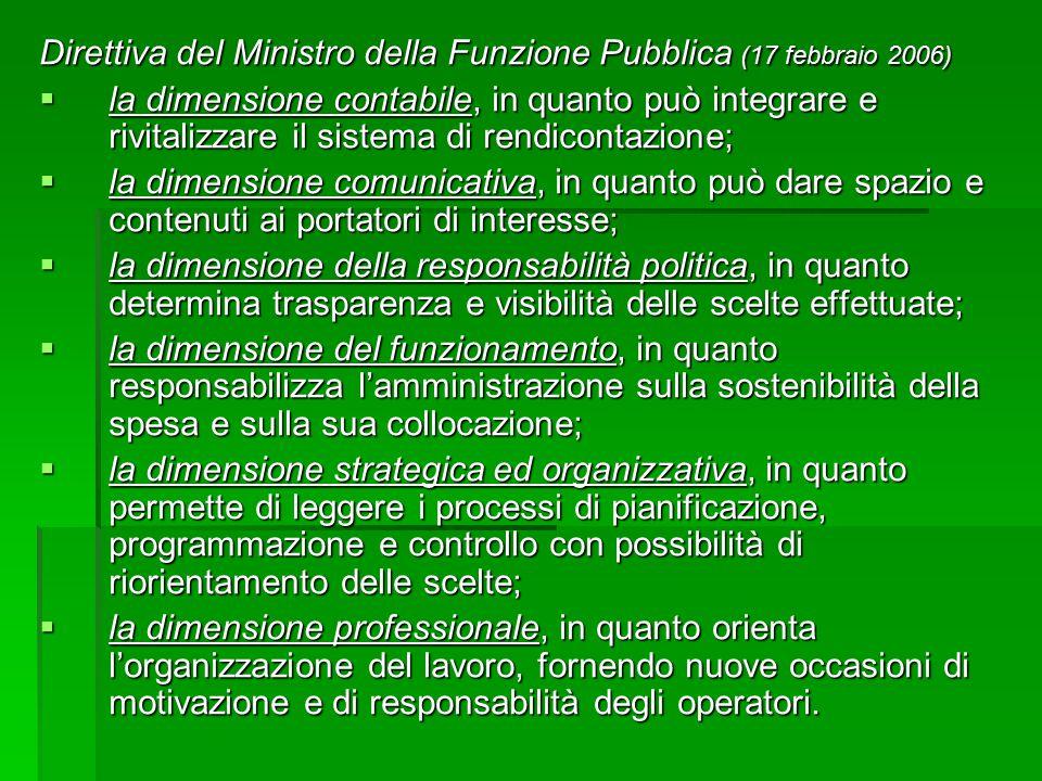 Direttiva del Ministro della Funzione Pubblica (17 febbraio 2006)  la dimensione contabile, in quanto può integrare e rivitalizzare il sistema di ren