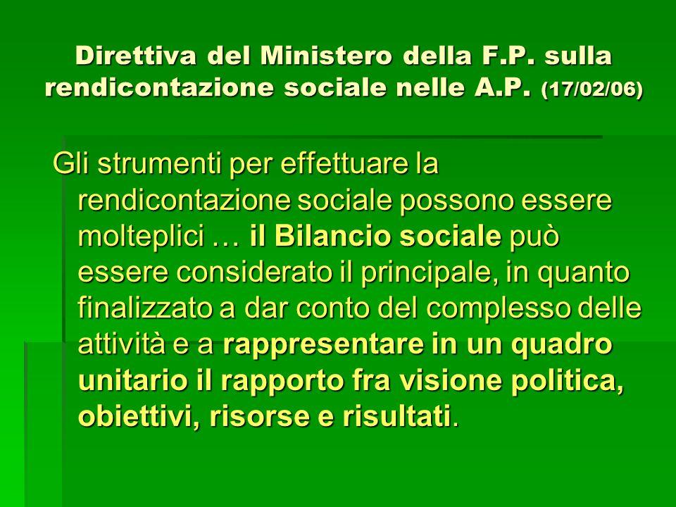 Direttiva del Ministero della F.P. sulla rendicontazione sociale nelle A.P. (17/02/06) Gli strumenti per effettuare la rendicontazione sociale possono