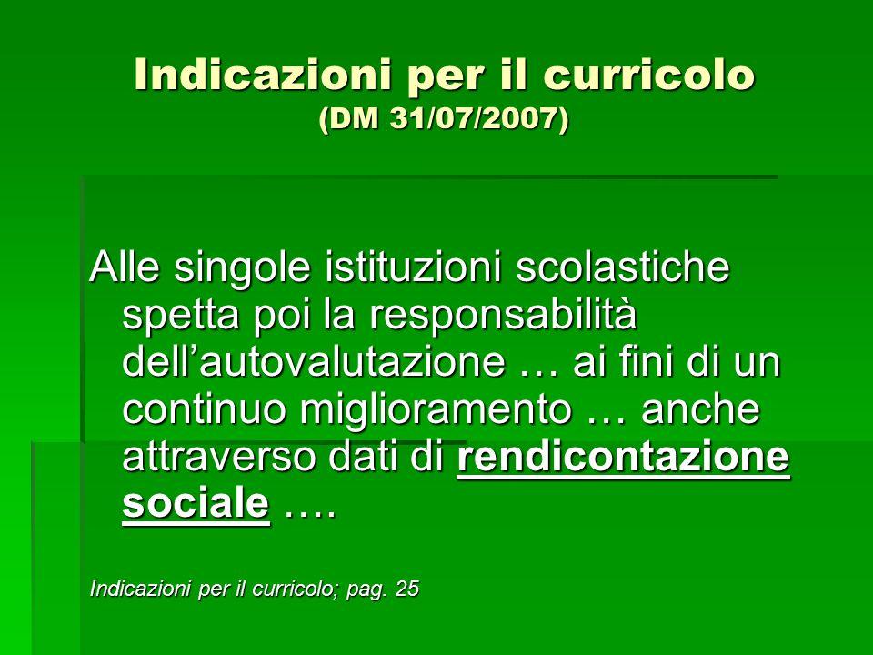 Indicazioni per il curricolo (DM 31/07/2007) Alle singole istituzioni scolastiche spetta poi la responsabilità dell'autovalutazione … ai fini di un co