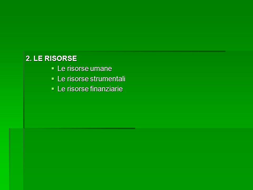 2. LE RISORSE  Le risorse umane  Le risorse strumentali  Le risorse finanziarie