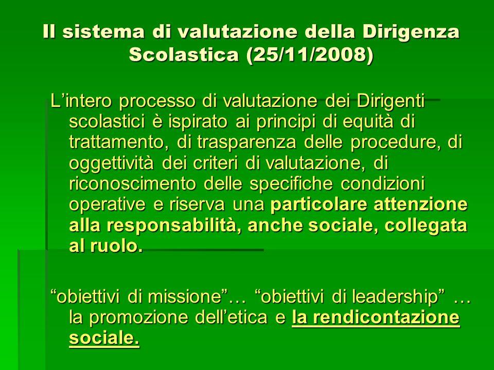 Il sistema di valutazione della Dirigenza Scolastica (25/11/2008) L'intero processo di valutazione dei Dirigenti scolastici è ispirato ai principi di
