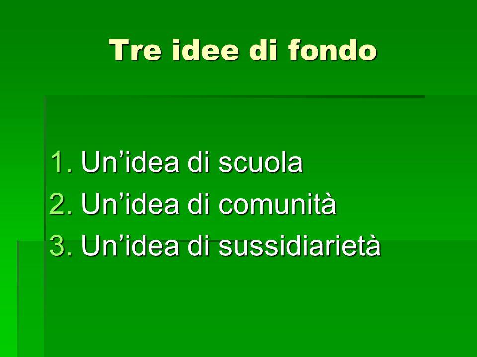 Tre idee di fondo 1.Un'idea di scuola 2.Un'idea di comunità 3.Un'idea di sussidiarietà