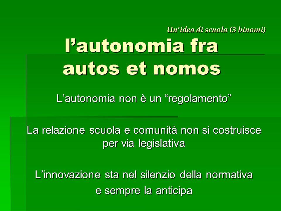 Un'idea di scuola (3 binomi) l'autonomia fra autos et nomos Un'idea di scuola (3 binomi) l'autonomia fra autos et nomos L'autonomia non è un regolamento La relazione scuola e comunità non si costruisce per via legislativa L'innovazione sta nel silenzio della normativa e sempre la anticipa