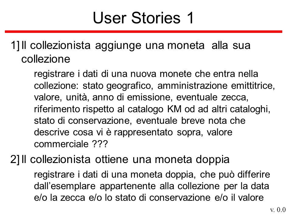 v. 0.0 User Stories 1 1]Il collezionista aggiunge una moneta alla sua collezione registrare i dati di una nuova monete che entra nella collezione: sta