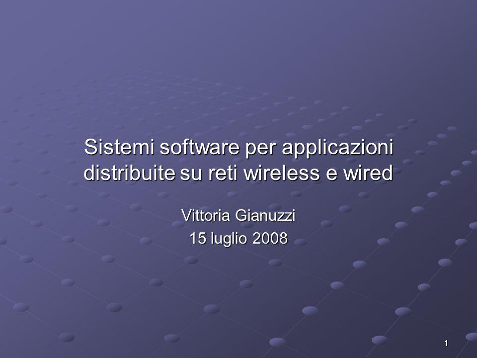 1 Sistemi software per applicazioni distribuite su reti wireless e wired Vittoria Gianuzzi 15 luglio 2008