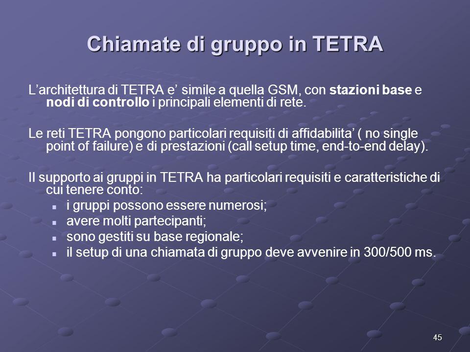45 Chiamate di gruppo in TETRA L'architettura di TETRA e' simile a quella GSM, con stazioni base e nodi di controllo i principali elementi di rete.