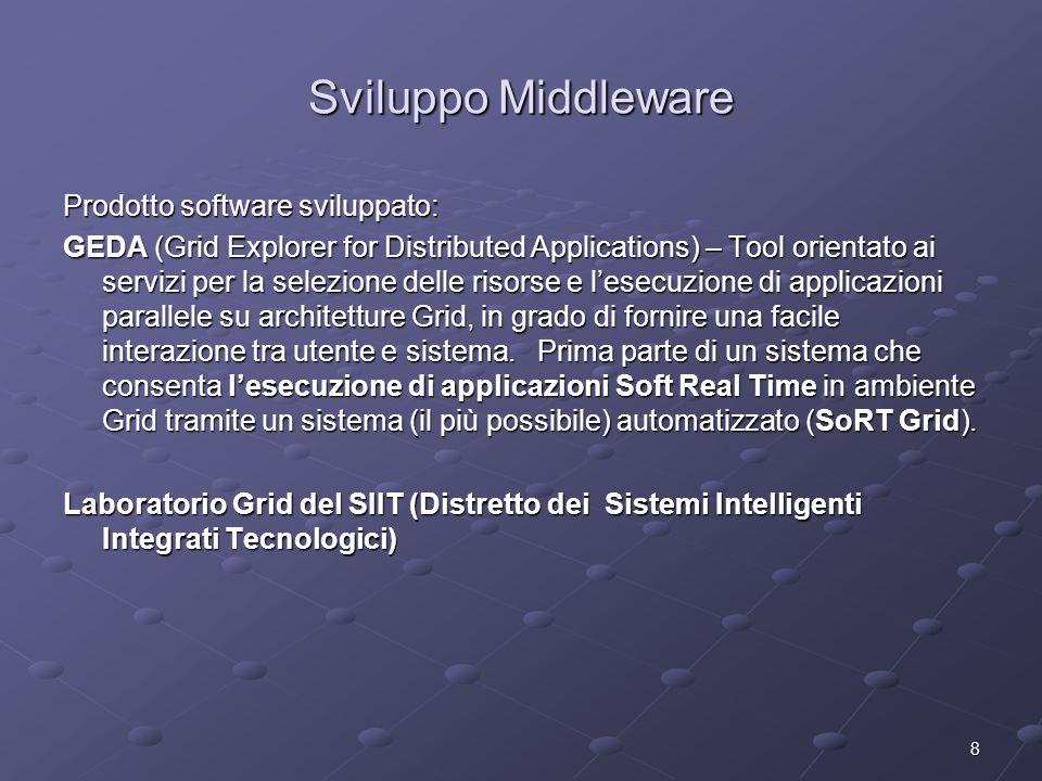 8 Sviluppo Middleware Prodotto software sviluppato: GEDA (Grid Explorer for Distributed Applications) – Tool orientato ai servizi per la selezione delle risorse e l'esecuzione di applicazioni parallele su architetture Grid, in grado di fornire una facile interazione tra utente e sistema.