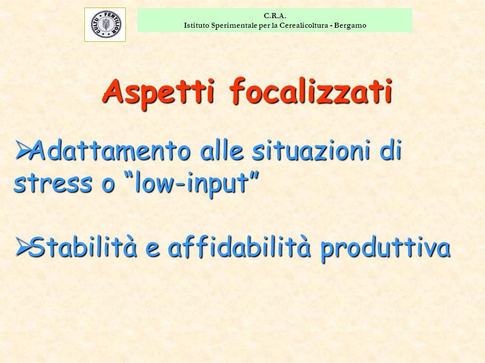 """C.R.A. Istituto Sperimentale per la Cerealicoltura - Bergamo  Adattamento alle situazioni di stress o """"low-input""""  Stabilità e affidabilità produtti"""