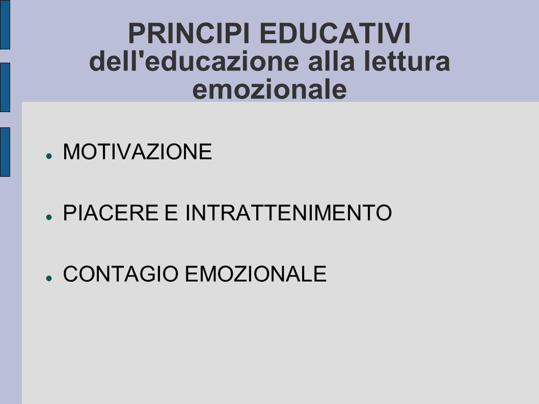 PRINCIPI EDUCATIVI dell educazione alla lettura emozionale MOTIVAZIONE PIACERE E INTRATTENIMENTO CONTAGIO EMOZIONALE