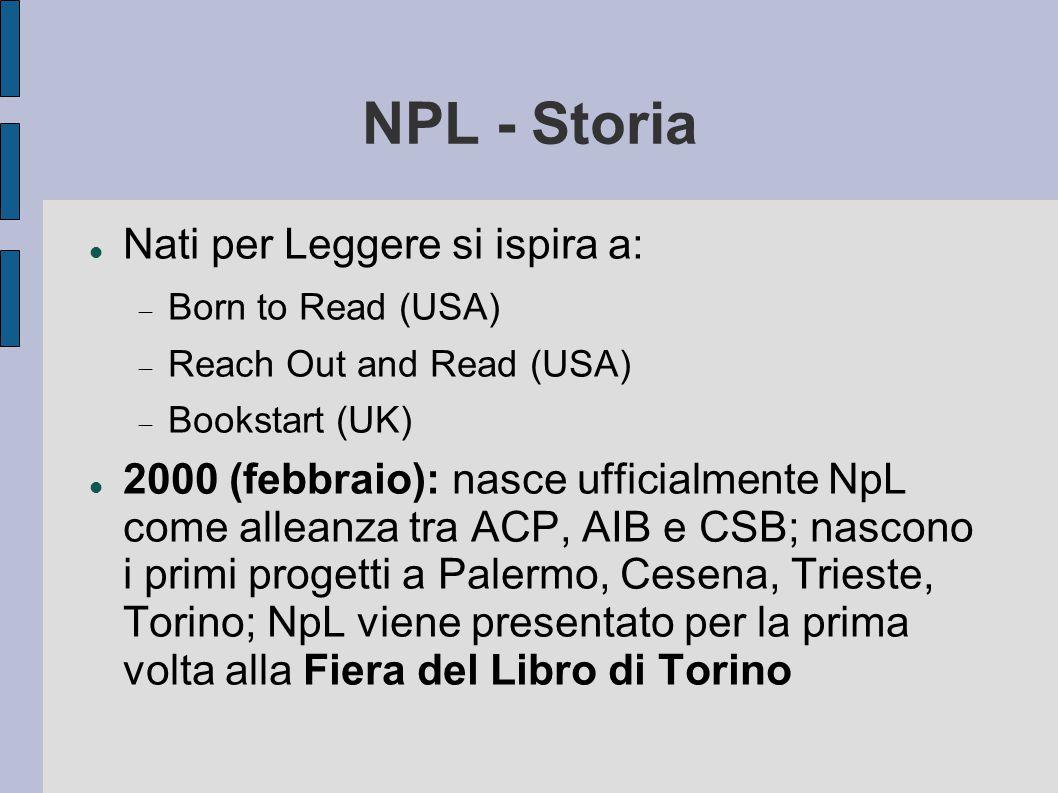NPL - Storia Nati per Leggere si ispira a:  Born to Read (USA)  Reach Out and Read (USA)  Bookstart (UK) 2000 (febbraio): nasce ufficialmente NpL come alleanza tra ACP, AIB e CSB; nascono i primi progetti a Palermo, Cesena, Trieste, Torino; NpL viene presentato per la prima volta alla Fiera del Libro di Torino