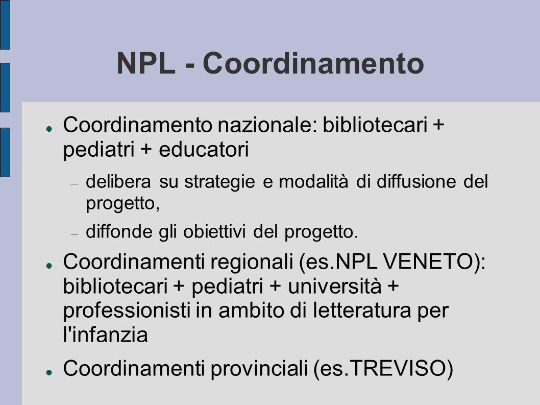 NPL - Coordinamento Coordinamento nazionale: bibliotecari + pediatri + educatori  delibera su strategie e modalità di diffusione del progetto,  diffonde gli obiettivi del progetto.