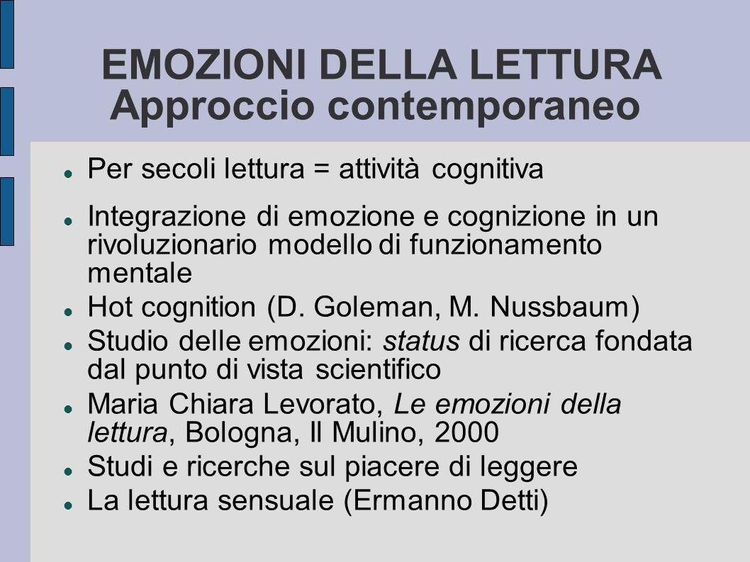 EMOZIONI DELLA LETTURA Approccio contemporaneo Per secoli lettura = attività cognitiva Integrazione di emozione e cognizione in un rivoluzionario modello di funzionamento mentale Hot cognition (D.
