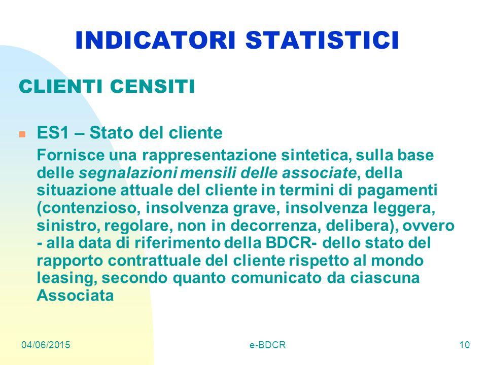 04/06/2015e-BDCR10 INDICATORI STATISTICI CLIENTI CENSITI ES1 – Stato del cliente Fornisce una rappresentazione sintetica, sulla base delle segnalazion
