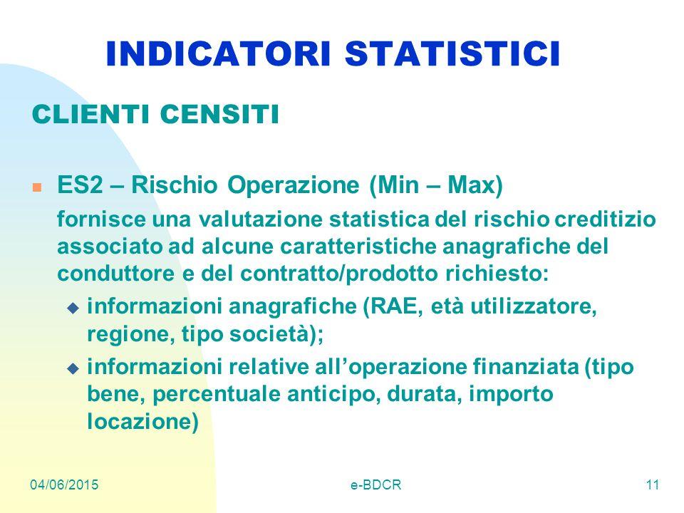 04/06/2015e-BDCR11 INDICATORI STATISTICI CLIENTI CENSITI ES2 – Rischio Operazione (Min – Max) fornisce una valutazione statistica del rischio creditiz