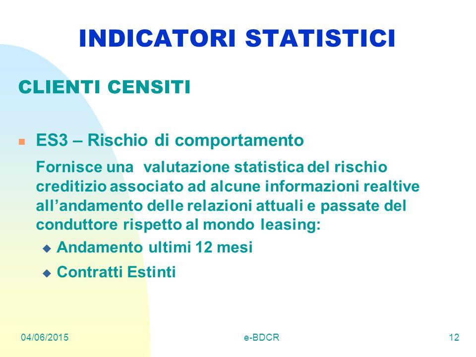 04/06/2015e-BDCR12 INDICATORI STATISTICI CLIENTI CENSITI ES3 – Rischio di comportamento Fornisce una valutazione statistica del rischio creditizio ass