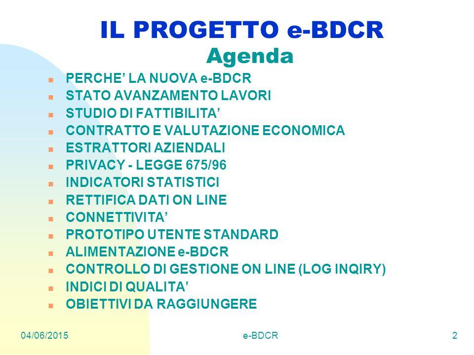 04/06/2015e-BDCR2 IL PROGETTO e-BDCR Agenda PERCHE' LA NUOVA e-BDCR STATO AVANZAMENTO LAVORI STUDIO DI FATTIBILITA' CONTRATTO E VALUTAZIONE ECONOMICA