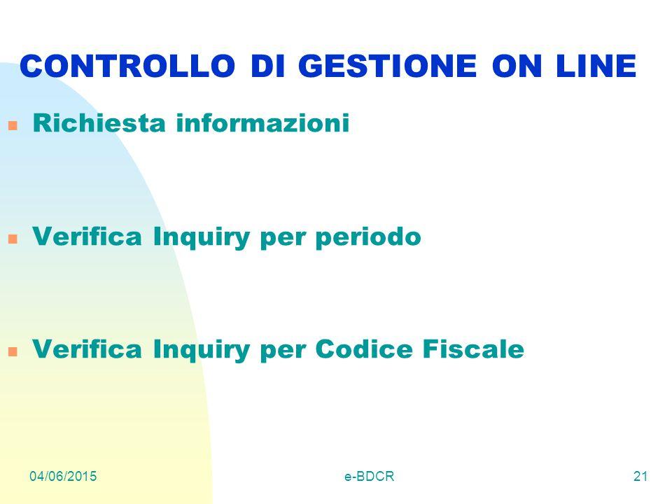 04/06/2015e-BDCR21 CONTROLLO DI GESTIONE ON LINE Richiesta informazioni Verifica Inquiry per periodo Verifica Inquiry per Codice Fiscale
