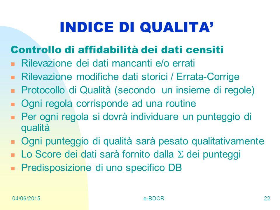 04/06/2015e-BDCR22 INDICE DI QUALITA' Controllo di affidabilità dei dati censiti Rilevazione dei dati mancanti e/o errati Rilevazione modifiche dati s