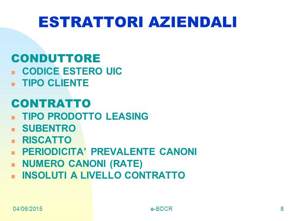 04/06/2015e-BDCR8 ESTRATTORI AZIENDALI CONDUTTORE CODICE ESTERO UIC TIPO CLIENTE CONTRATTO TIPO PRODOTTO LEASING SUBENTRO RISCATTO PERIODICITA' PREVALENTE CANONI NUMERO CANONI (RATE) INSOLUTI A LIVELLO CONTRATTO