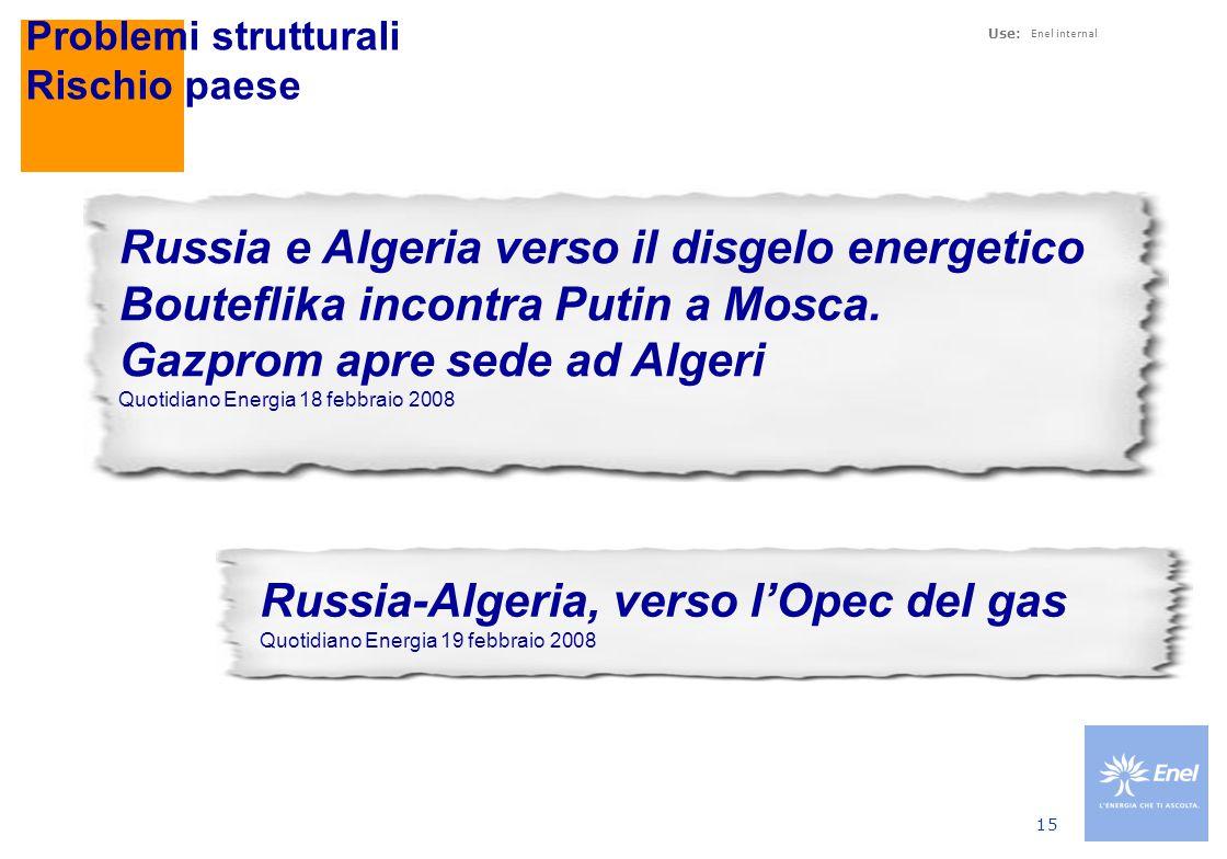 Use: Enel internal 15 Problemi strutturali Rischio paese Russia-Algeria, verso l'Opec del gas Quotidiano Energia 19 febbraio 2008 Russia e Algeria verso il disgelo energetico Bouteflika incontra Putin a Mosca.
