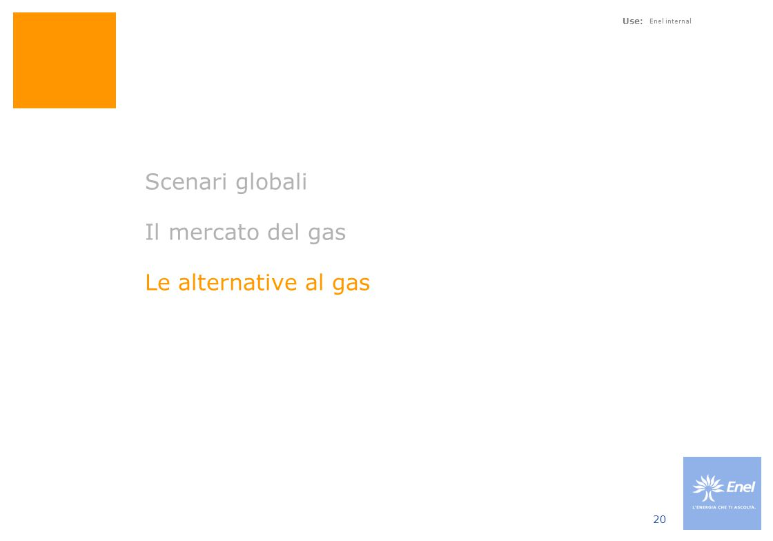 Use: Enel internal 20 Scenari globali Il mercato del gas Le alternative al gas