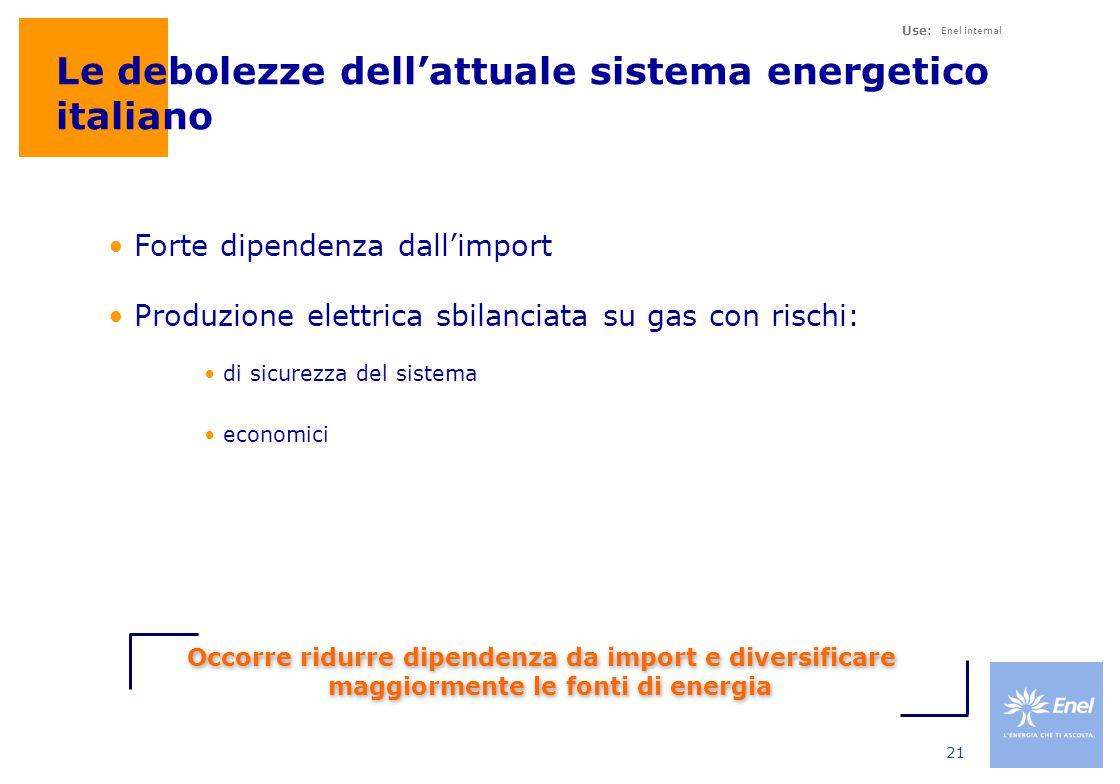Use: Enel internal 21 Le debolezze dell'attuale sistema energetico italiano Forte dipendenza dall'import Produzione elettrica sbilanciata su gas con rischi: di sicurezza del sistema economici Occorre ridurre dipendenza da import e diversificare maggiormente le fonti di energia
