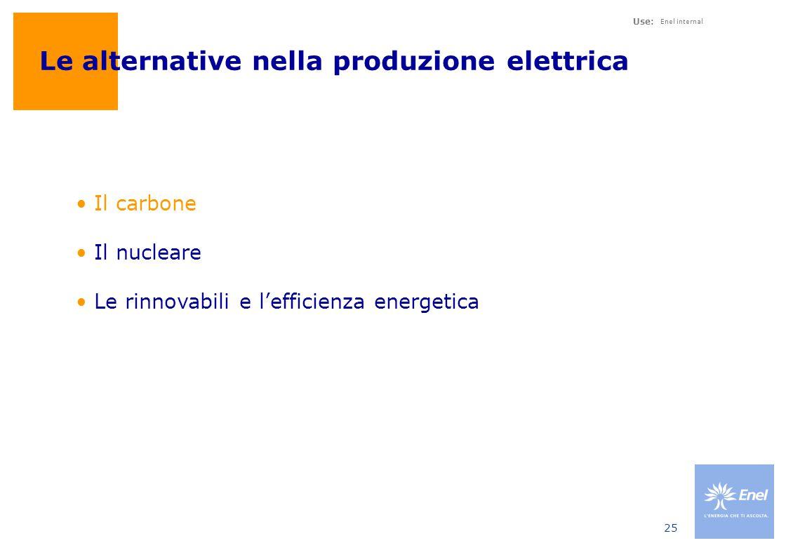 Use: Enel internal 25 Le alternative nella produzione elettrica Il carbone Il nucleare Le rinnovabili e l'efficienza energetica