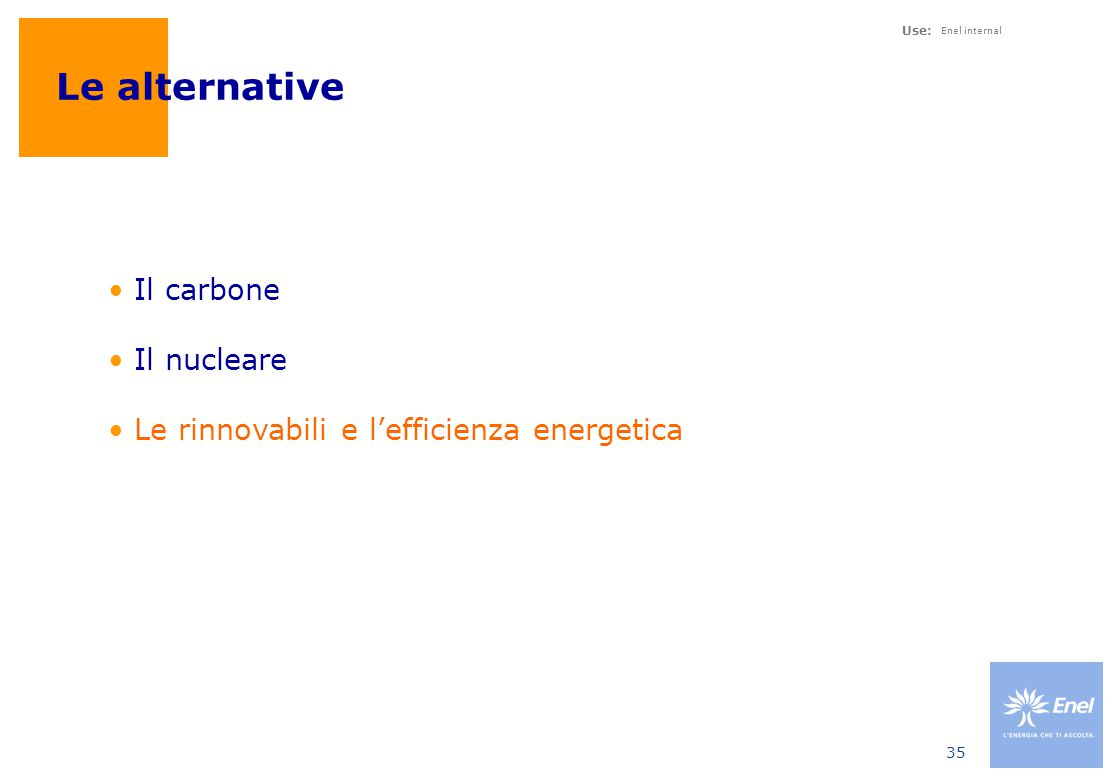Use: Enel internal 35 Le alternative Il carbone Il nucleare Le rinnovabili e l'efficienza energetica
