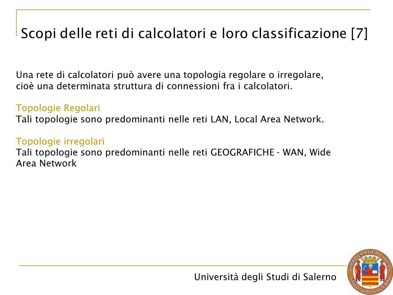 Università degli Studi di Salerno Una rete di calcolatori può avere una topologia regolare o irregolare, cioè una determinata struttura di connessioni