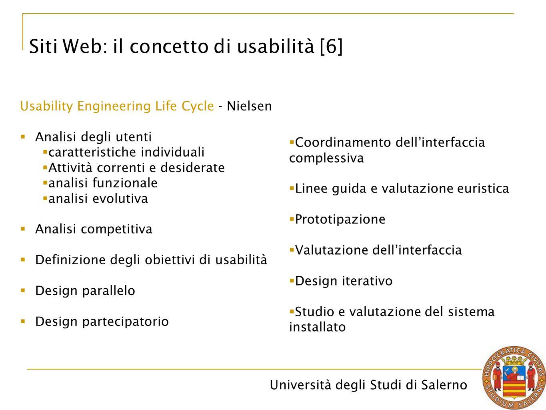 Università degli Studi di Salerno Siti Web: il concetto di usabilità [6] Usability Engineering Life Cycle - Nielsen  Analisi degli utenti  caratteri