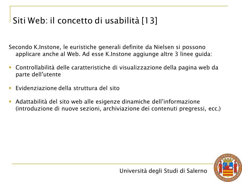 Università degli Studi di Salerno Siti Web: il concetto di usabilità [13] Secondo K.Instone, le euristiche generali definite da Nielsen si possono app