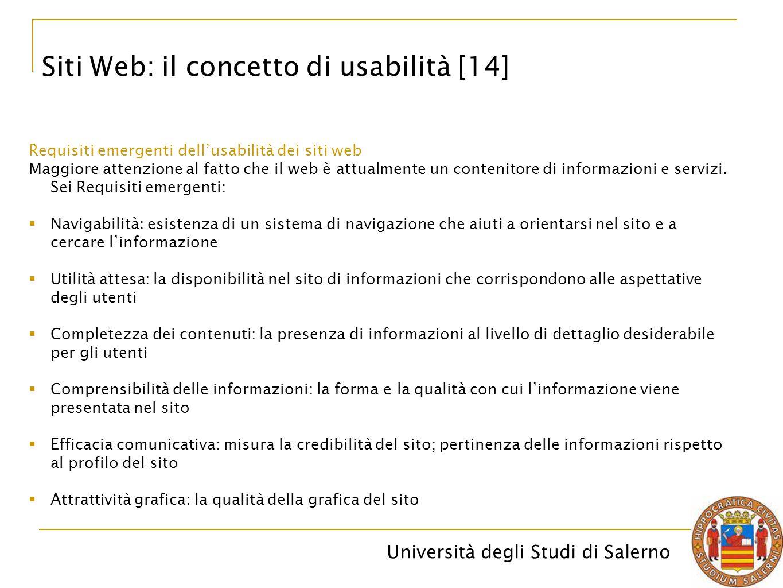 Università degli Studi di Salerno Siti Web: il concetto di usabilità [14] Requisiti emergenti dell'usabilità dei siti web Maggiore attenzione al fatto