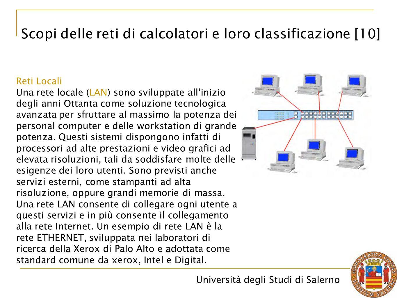 Università degli Studi di Salerno Reti Locali Una rete locale (LAN) sono sviluppate all'inizio degli anni Ottanta come soluzione tecnologica avanzata