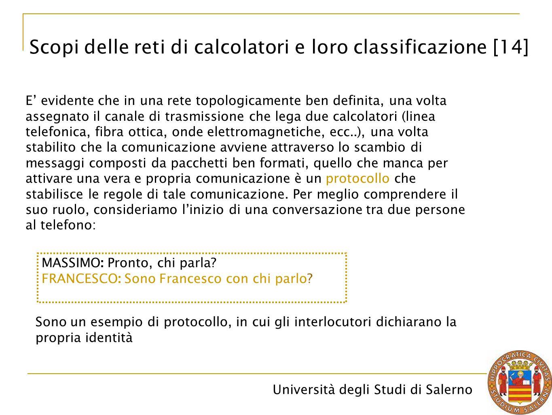 Università degli Studi di Salerno E' evidente che in una rete topologicamente ben definita, una volta assegnato il canale di trasmissione che lega due