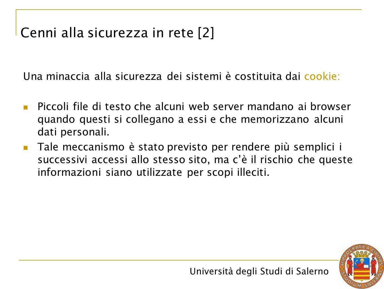 Università degli Studi di Salerno Una minaccia alla sicurezza dei sistemi è costituita dai cookie: Piccoli file di testo che alcuni web server mandano