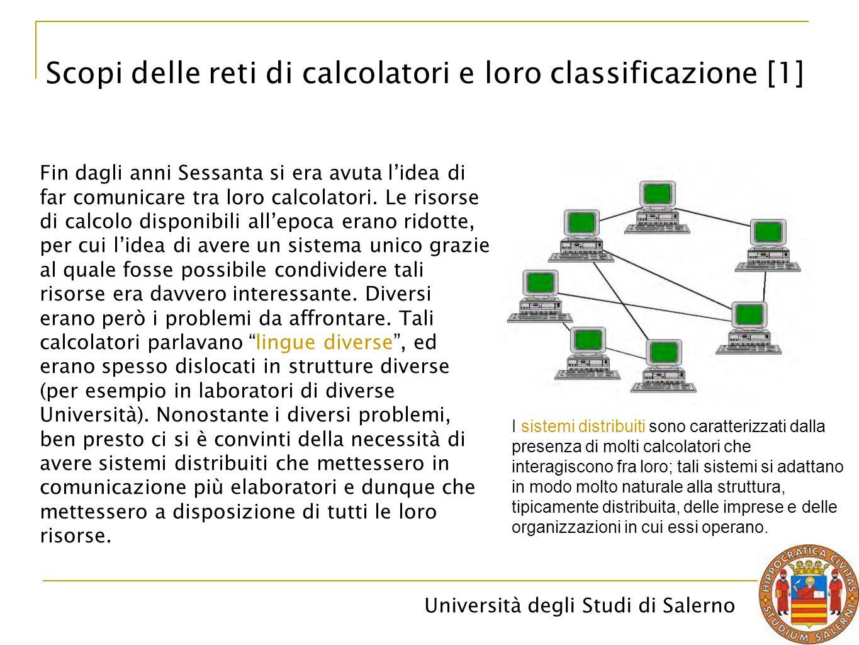 Università degli Studi di Salerno Fin dagli anni Sessanta si era avuta l'idea di far comunicare tra loro calcolatori. Le risorse di calcolo disponibil